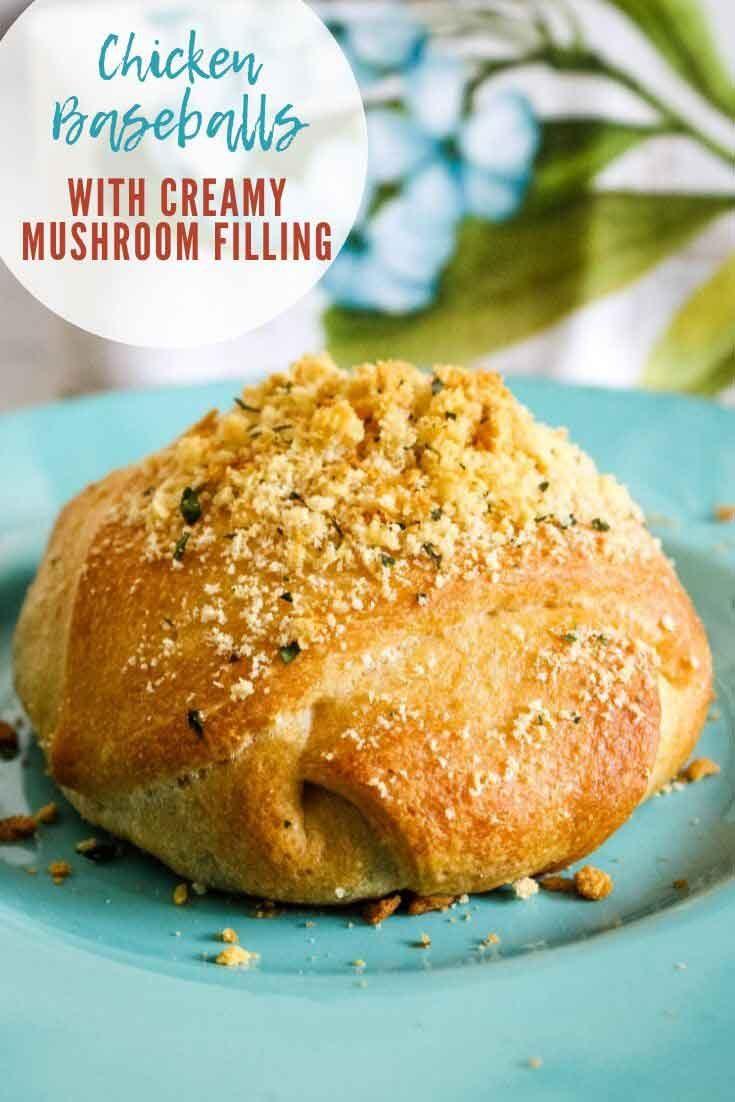 Chicken Baseballs with Creamy Mushroom Filling #chicken #crescentroll #easyrecipe #recipeoftheday #mushroom