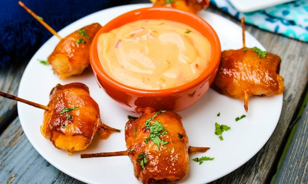 Bacon Wrapped Water Chestnuts & Sweet Chili Sauce
