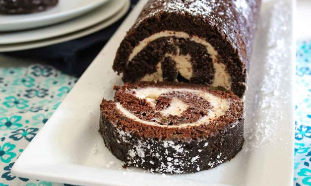 Chocolate Zucchini Cake with Spiced Cream