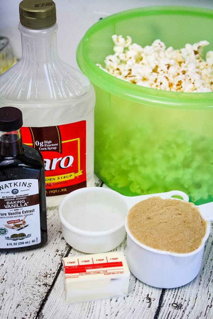 photo of vanilla extract, karo syrup, butter, brown sugar and popcorn ingredients