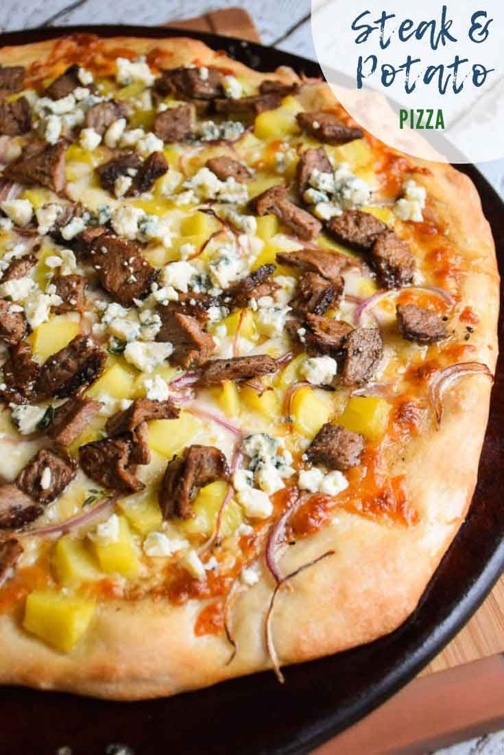 Steak and Potato Pizza #pizza #steak #potatoes #recipeoftheday #beef