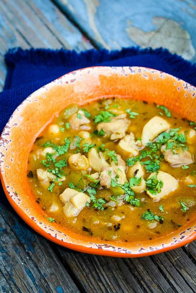 Up close view of White Chicken Chili with fresh cilantro sprinkled on top
