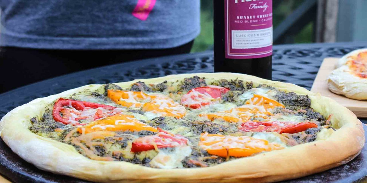 Heirloom Tomato Pizza with Pesto Sauce