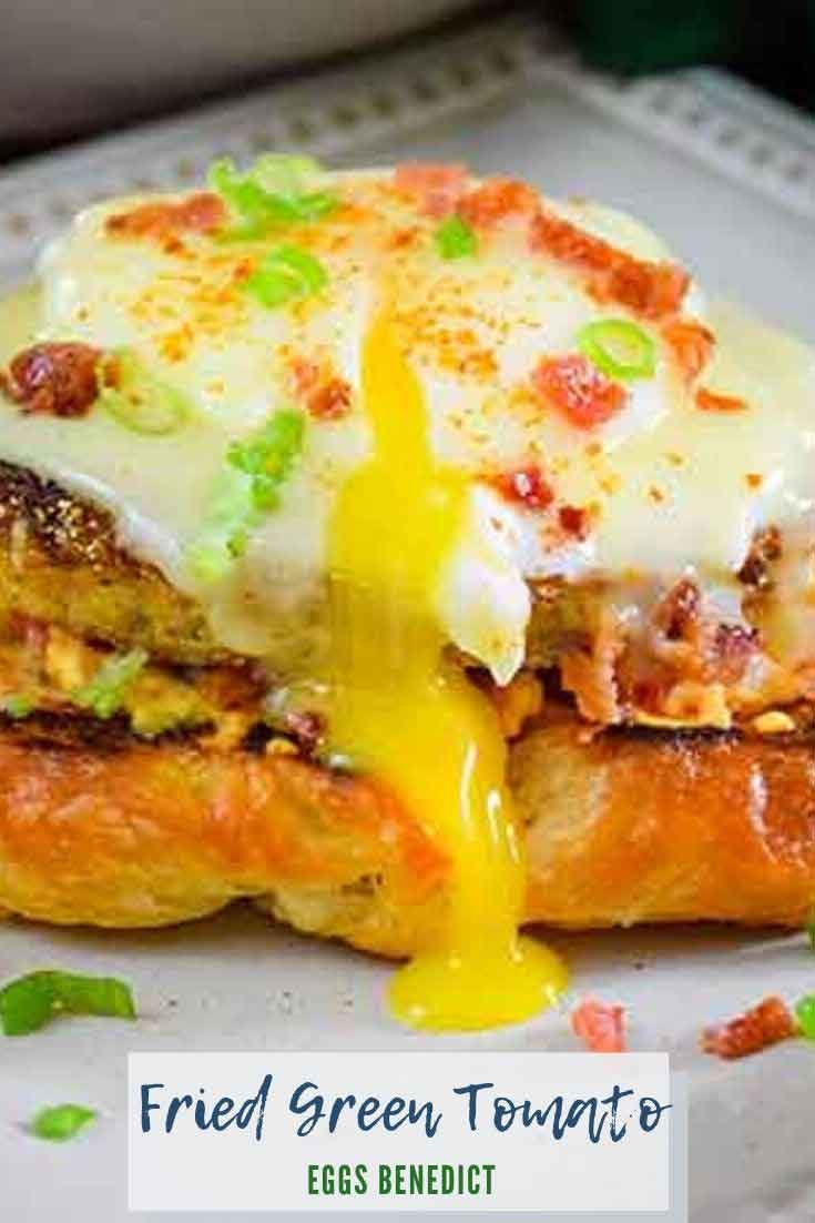 Fried Green Tomato Eggs Benedict #friedgreentomato  #eggs #benedict #poachedeggs #recipeoftheday