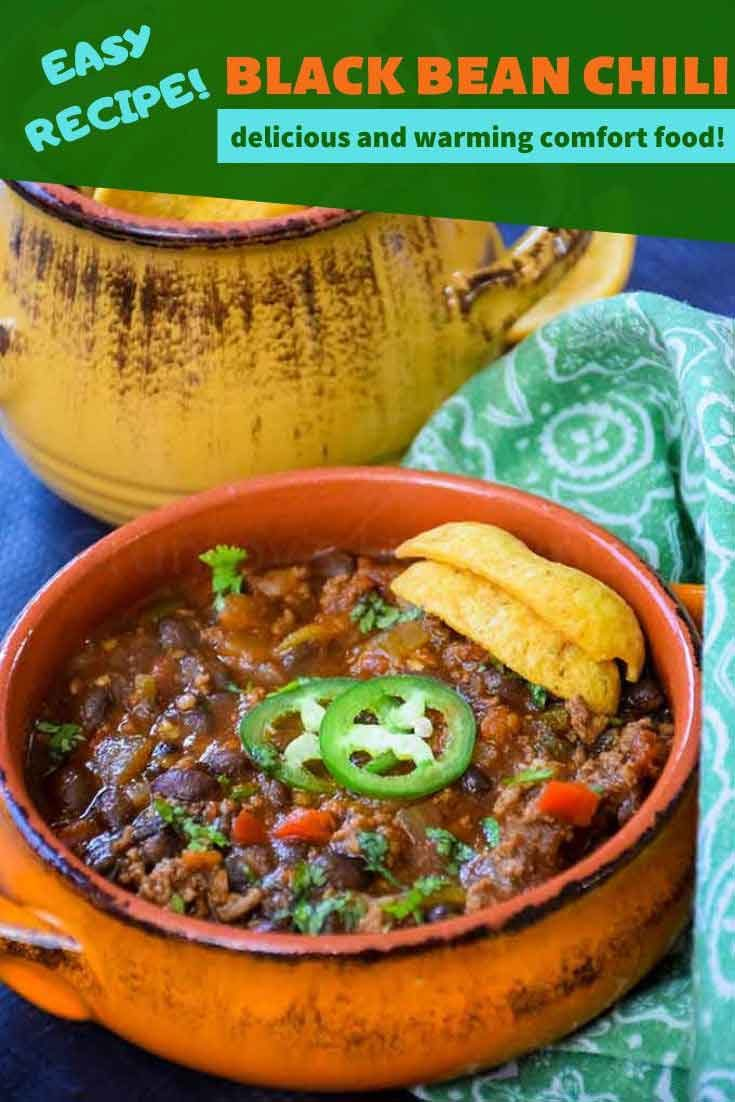 Easy Black Bean Chili #chilirecipe #groundbeef #chipotle #comfortfood