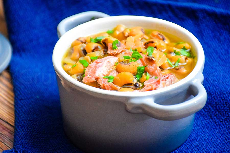 Slow Cooker Black-Eyed Peas in a serving dish
