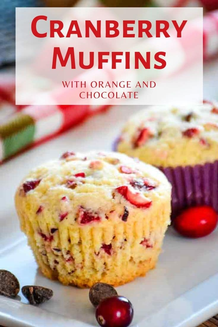 Cranberry Muffins with chocolate and orange make a perfect breakfast on a chilly winter morning! #cranberry #muffins #baking #cranberrymuffins #breakfast #brunch #recipeoftheday