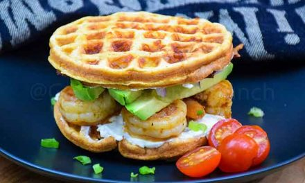 Shrimp and Avocado Chaffle Sandwich