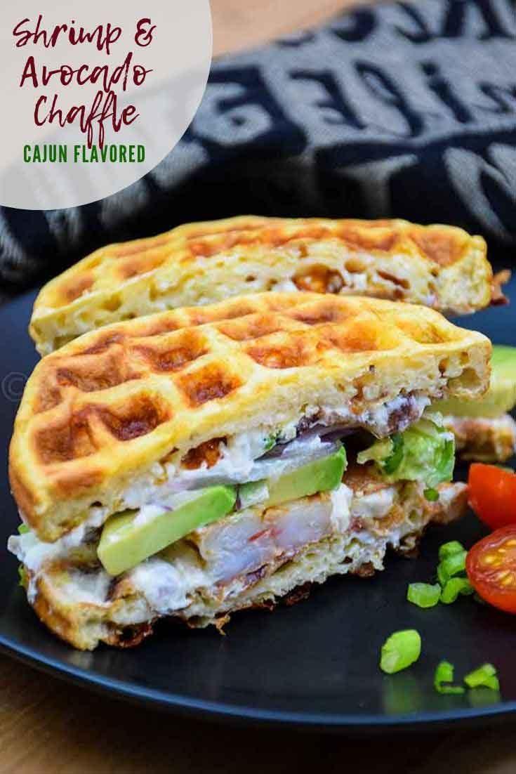 Cajun Shrimp and Avocado Chaffle Sandwich #chaffle #lowcarb #ketorecipe #bacon