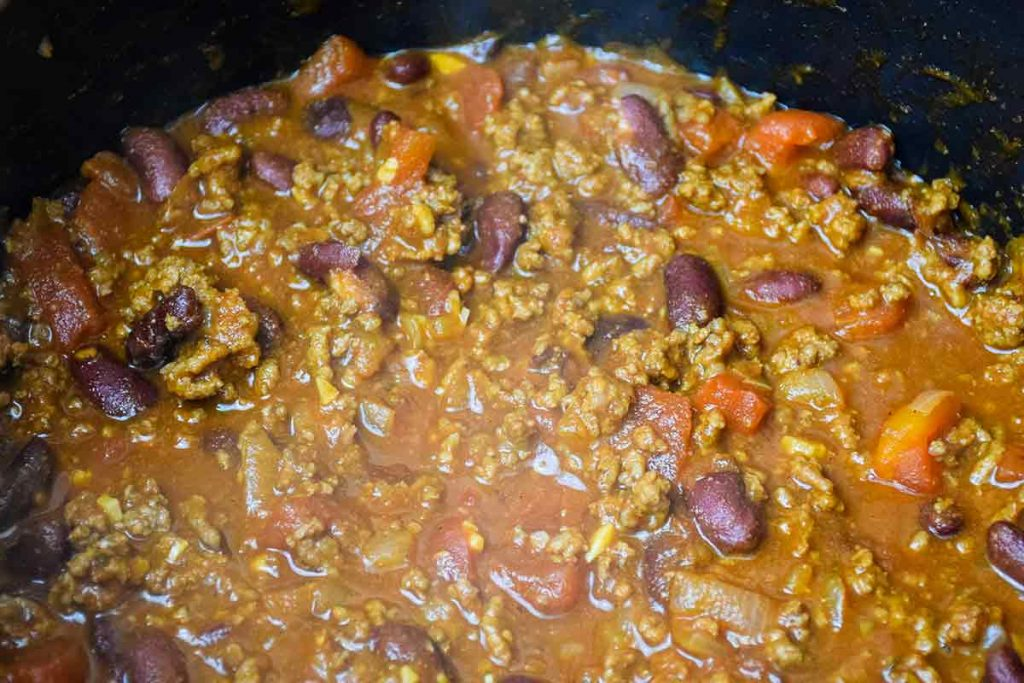 Chili cooking in the stockpot