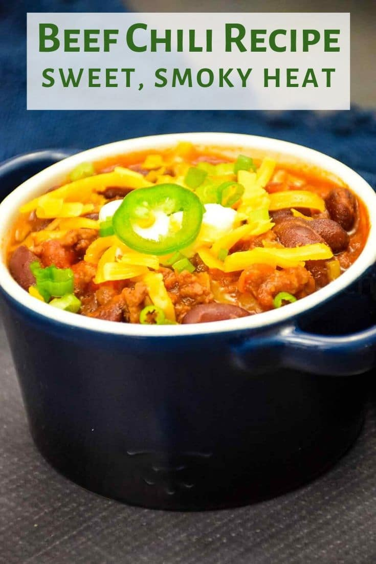 Beef Chili Recipe with a sweet, smoky heat is a great dish to warm up with on cold days and excellent for game day parties. #beefchili #groundbeef #sweetchili #sweetheat #chipotle #chilirecipe #recipeoftheday