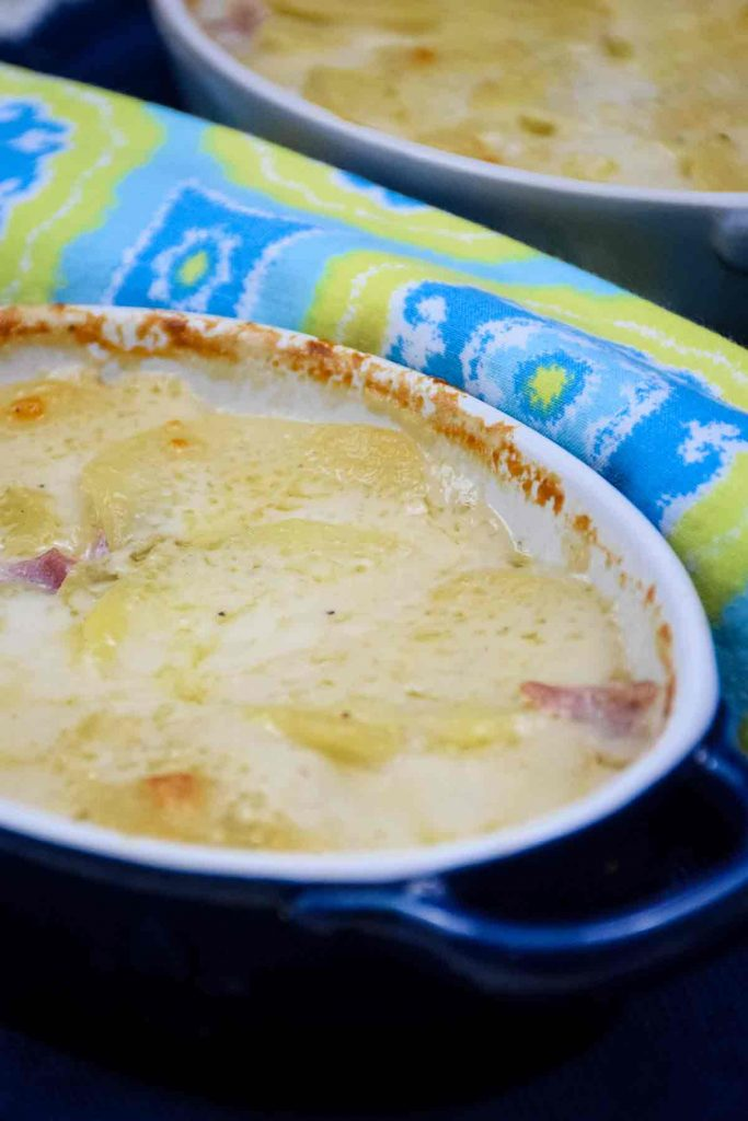 Scalloped Potatoes for two made with leftover ham in individual gratin dishes