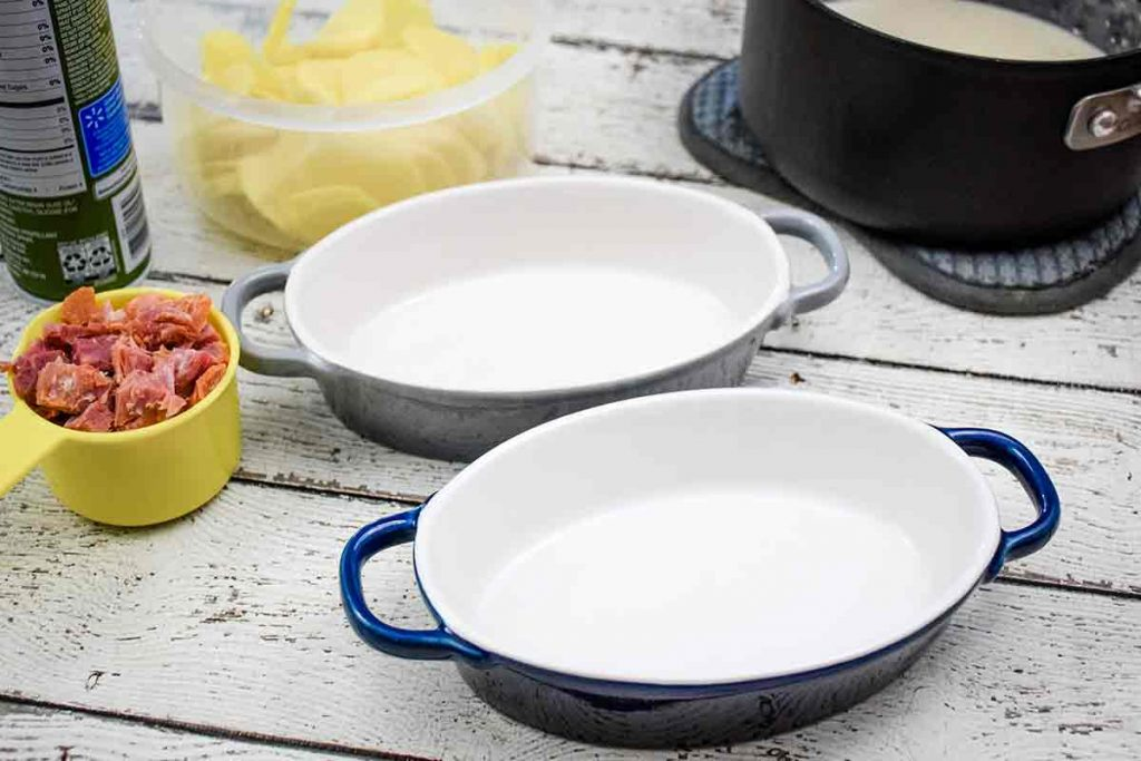 Ingredients and baking dishes