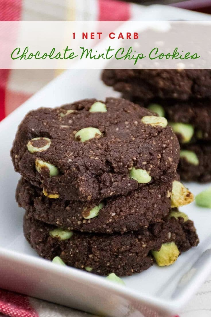 Chocolate Mint Chip Cookies are a low carb keto recipe with only 1 net carb per cookie! #ketocookies