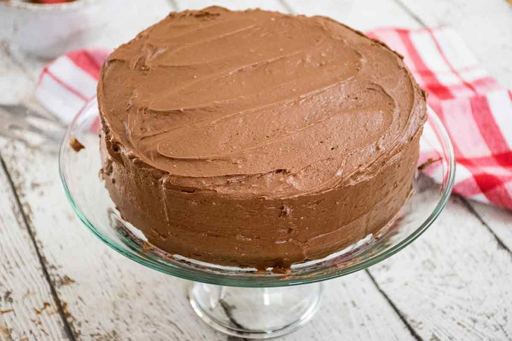 Cake covered in Chocolate Buttercream Frosting