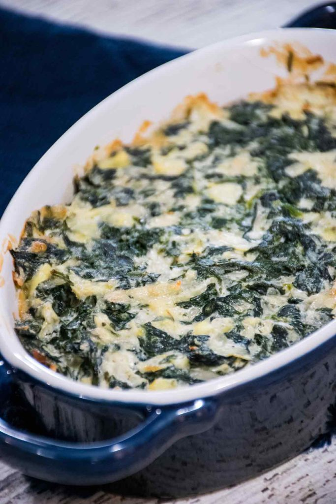 baked hot dip in a blue dish