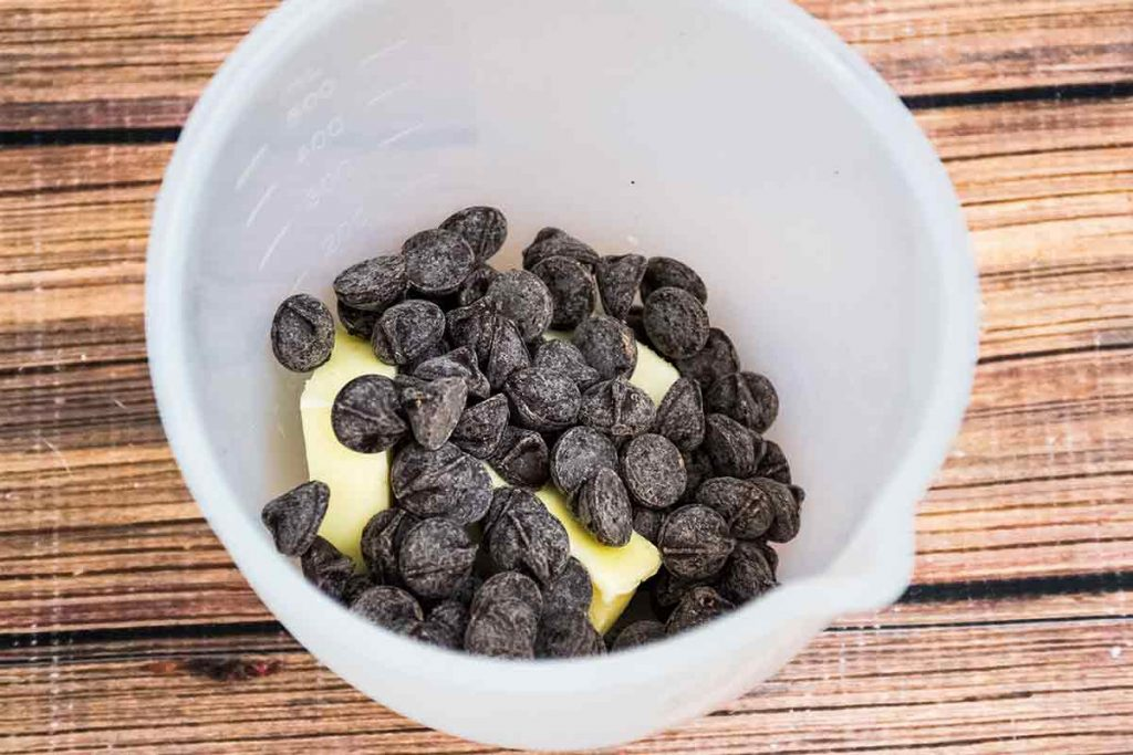 chocolate chips and butter in microwave dish