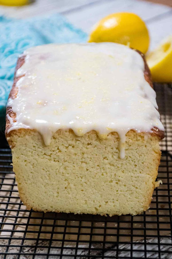 Keto Lemon Pound Cake with Lemon Icing has only 2 net carbs and is totally satisfying! #lemon #poundcake #ketocake #keto #dessert #GHBrecipes