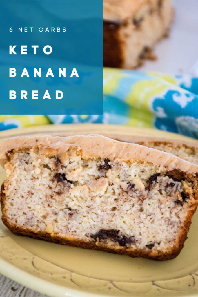 pinnable image for Keto Banana Bread with Chocolate Chips and Peanut Butter Frosting