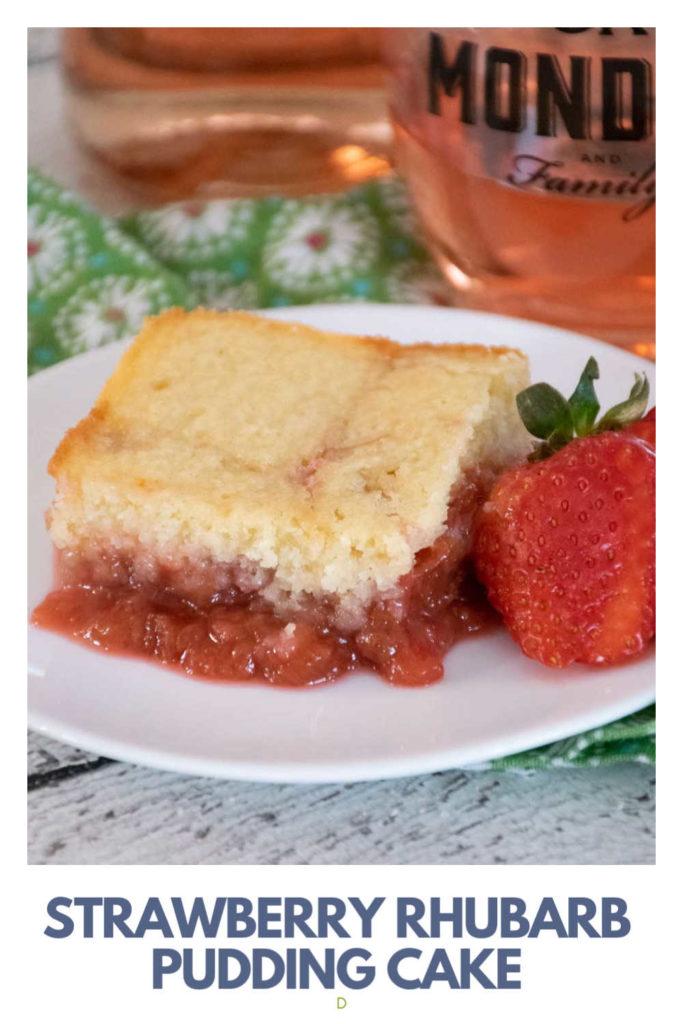Strawberry Rhubarb Pudding Cake Pinnable Image
