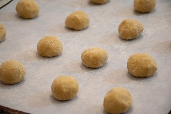 unbaked peanut blossoms dough balls rolled in sugar and on the baking sheet